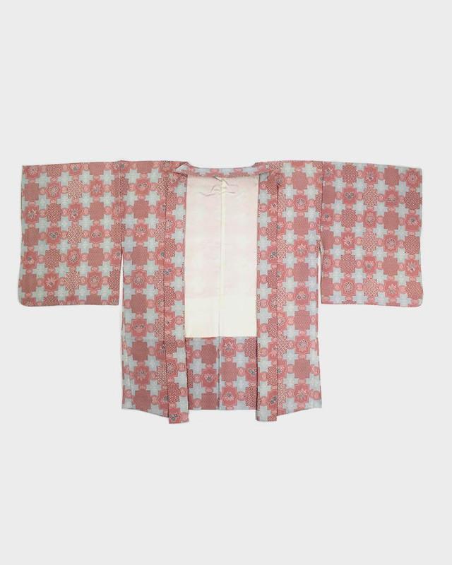 Vintage Kimono Haori Jacket, Pink Square Floral