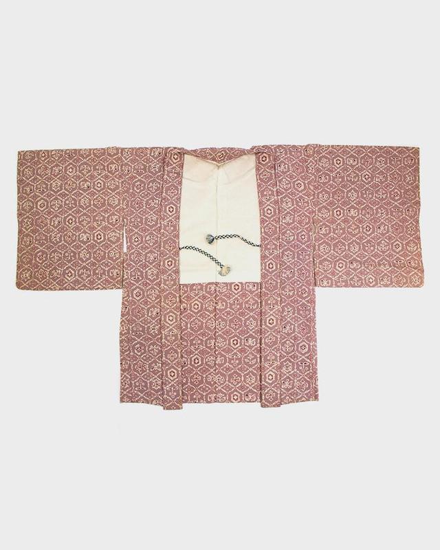 Vintage Kimono Haori Jacket, Lavender Kaleidoscope