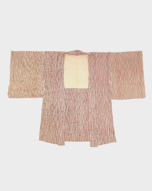 Vintage Kimono Haori Jacket, Black and Red Lines
