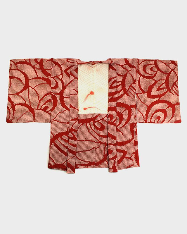 Vintage Shibori Haori Jacket, Red Swirls