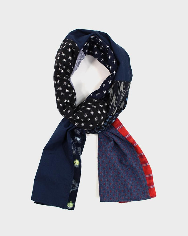 Patchwork Scarf, Kasuri and Red