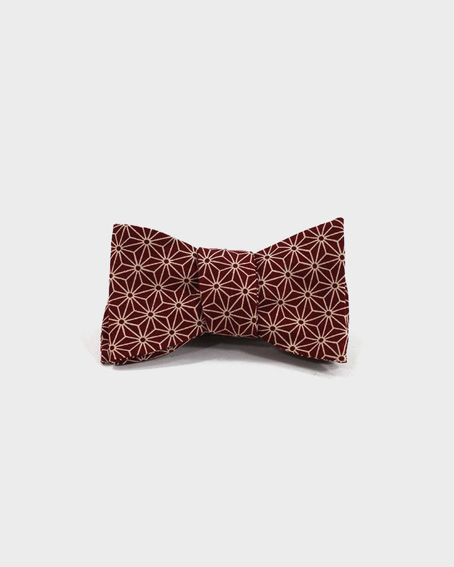 Bow Tie, Burgundy Asanoha