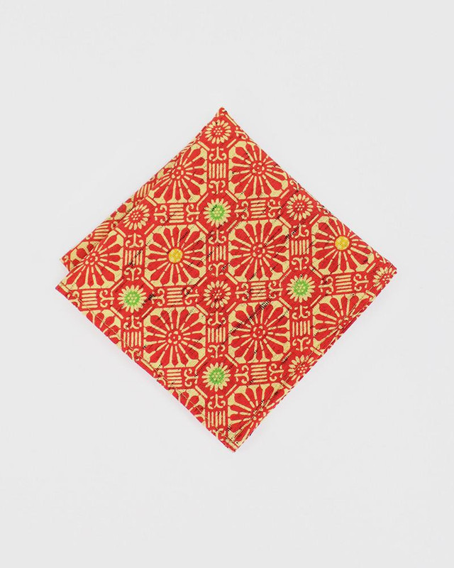 Pocket Square, Kimono Orange Chrysanthemum