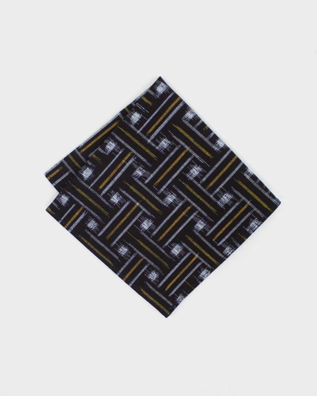 Pocket Square, Kimono Black Kasuri