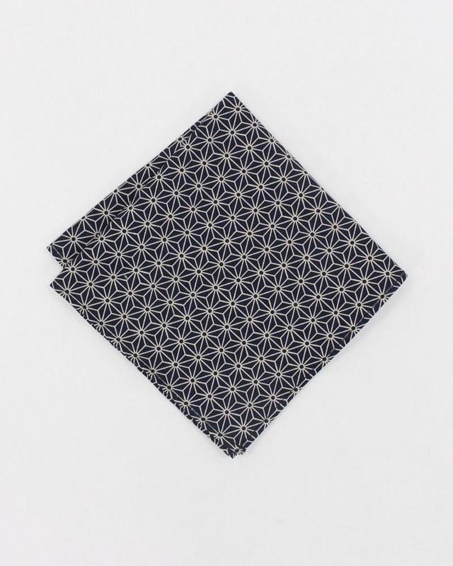 Pocket Square, Black Asanoha