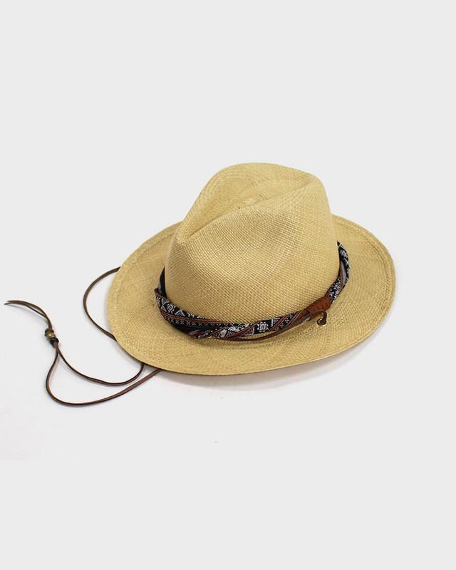 Panama Hat, Native Pattern Red and Black