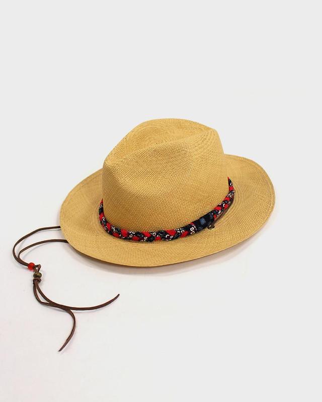 Panama Hat, Purple Shibori and Red
