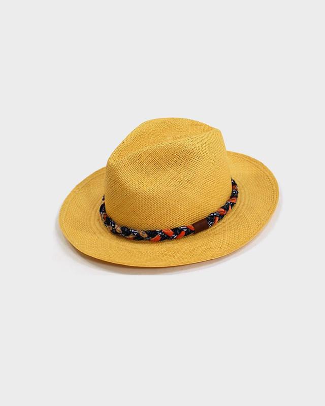 Panama Hat, Indigo Kasuri and Orange Plaid