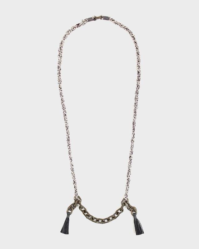 Boet x Kiriko Necklace, Lavender Shibori, Vintage Chain and Tassels