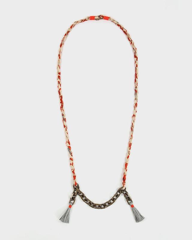Boet x Kiriko Necklace, Orange Silk Fabric, Vintage Chain and Tassels