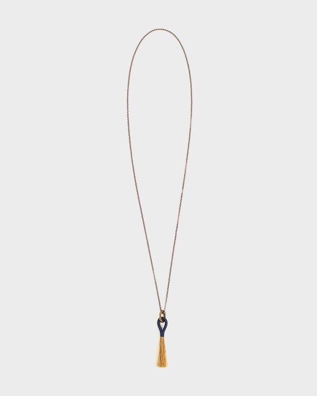 Boet Necklace, Horse Tassel Chestnut and Indigo
