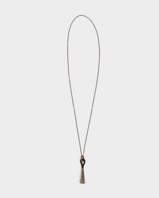 Boet Necklace, Horse Tassel Grey and Burgundy
