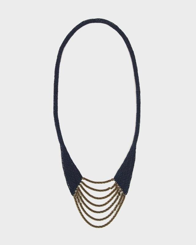 Boet Necklace, Horseshoe Indigo Cotton