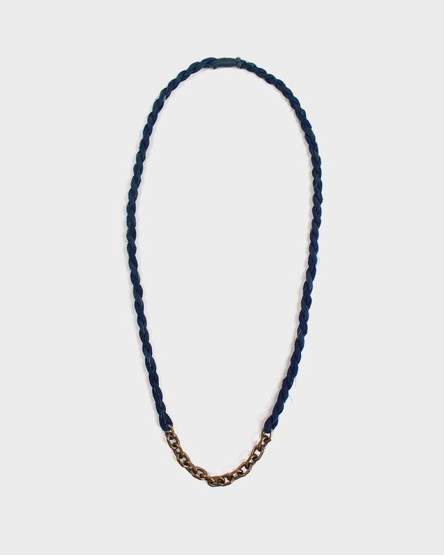 Boet X Kiriko Necklace, Indigo Boro and Vintage Chain