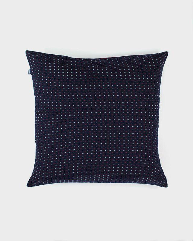 Pillow, Indigo Navy and Red Kasuri-Ori