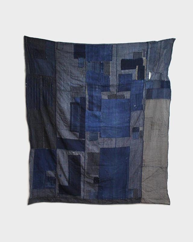 Vintage Boro Blanket, True Indigo