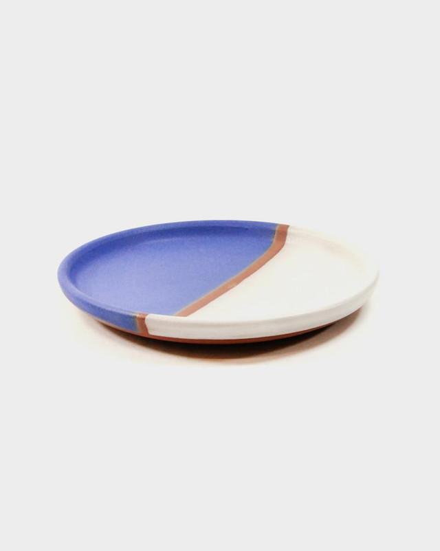 Dina Stoneware Plate, Blue White Stripe