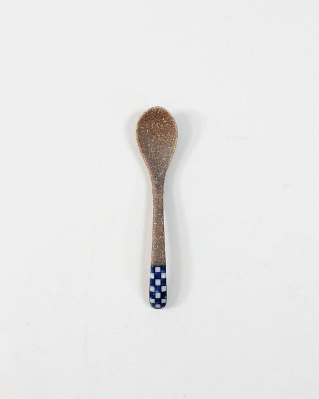 Mashiko-Yaki Hand-Painted Spoon, Checkered