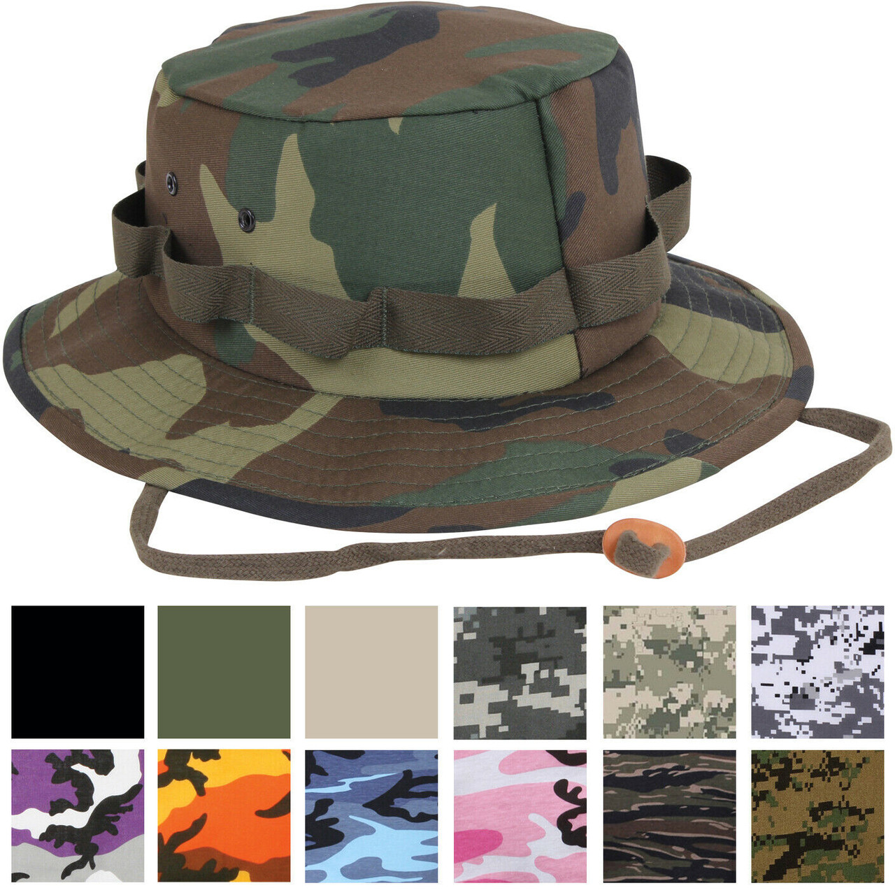 Sky Blue Camouflage Bush Hat Boonie Cap Giggle With Neck Strap Cotton All Sizes