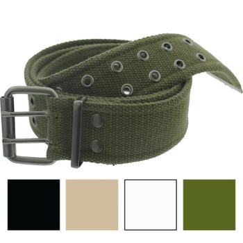 "Military Pistol Belt Cotton Canvas 42/"" Tactical Army Infantry Grommet Adjustable"