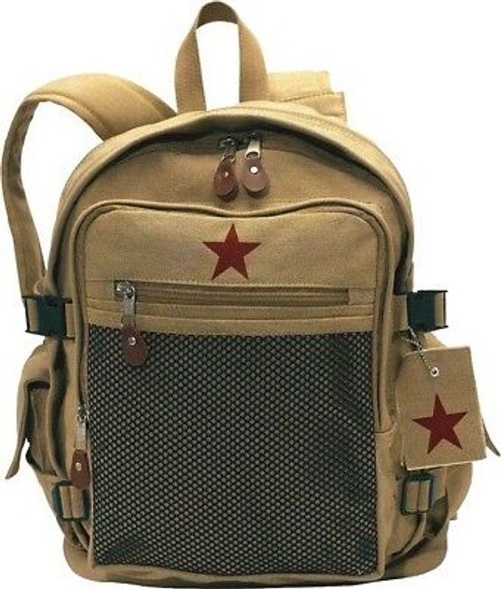 Khaki Backpack with Red Star Canvas School Book Bag Day Pack Vintage Knapsack