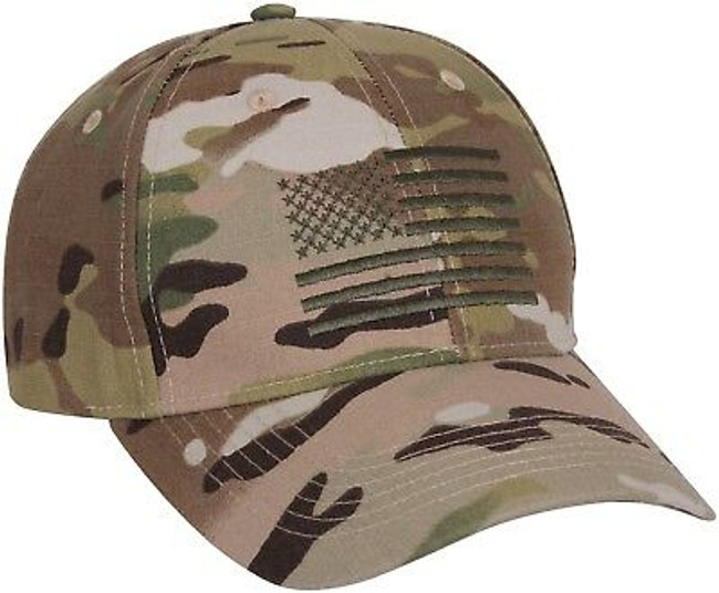 MultiCam Tactical US Flag Cap, Adjustable Military Hat Army Camo OCP Scorpion