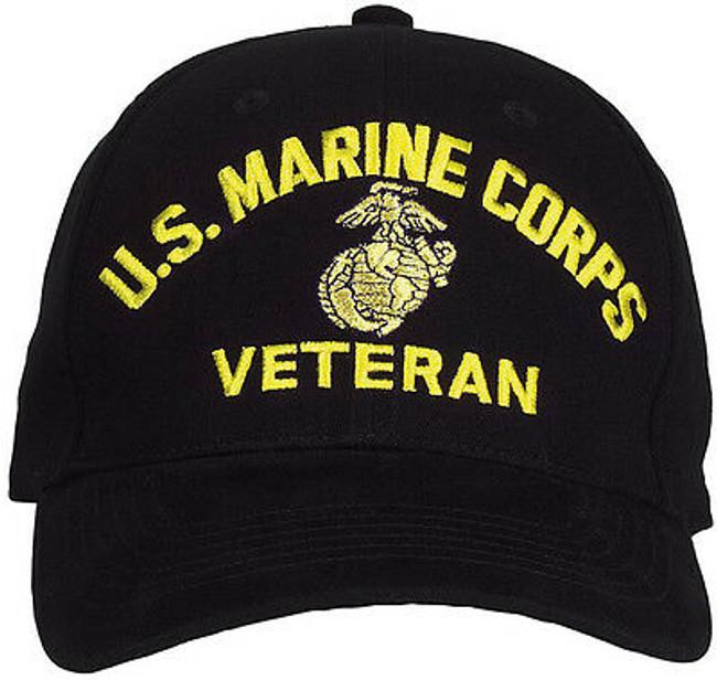 Black US Marine Corps USMC Globe & Anchor Veteran Adjustable Baseball Hat Cap