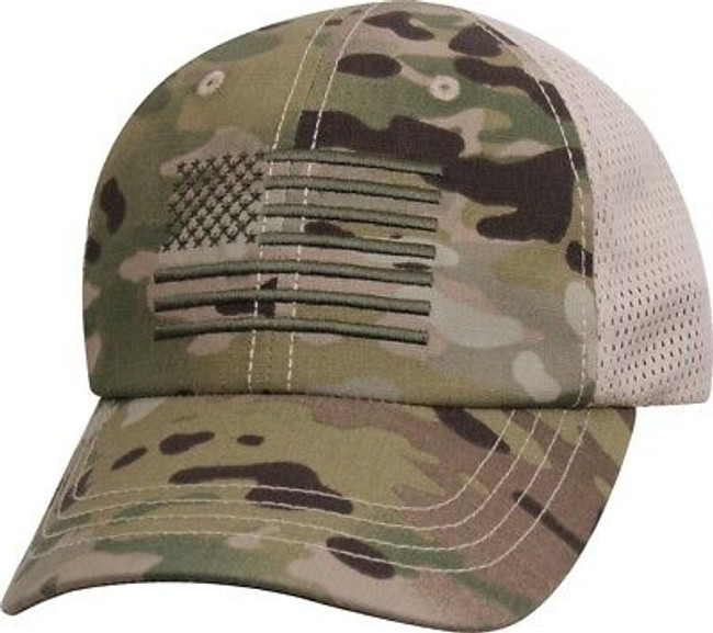 MultiCam Mesh Back Operator Cap with US Flag Military Hat Army Camo OCP Scorpion