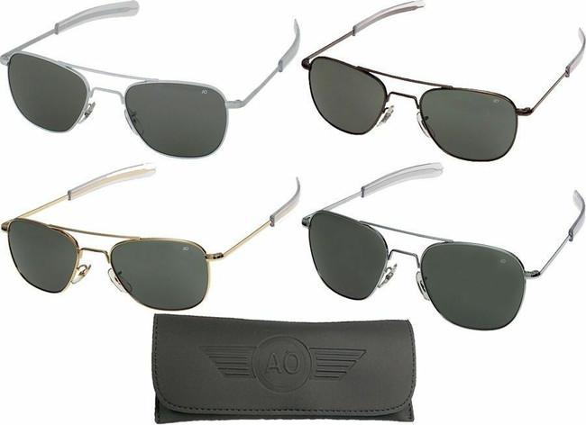 AO Eyewear Aviator Sunglasses Air Force Style Grey Lenses With Case