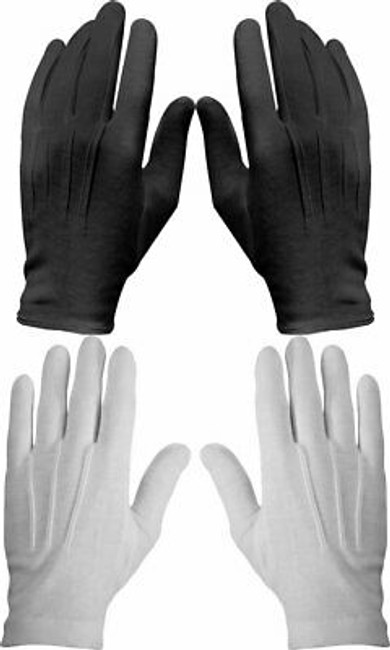 12 Pack Cotton Military Uniform Dress Parade Gloves with Snaps, White or Black
