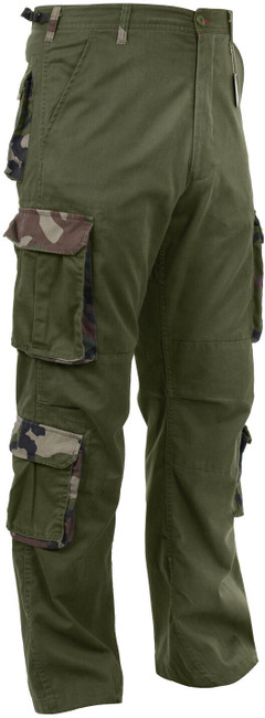 Olive Drab / Camo Vintage Paratrooper Fatigues Military Cargo BDU Pants 8-Pocket