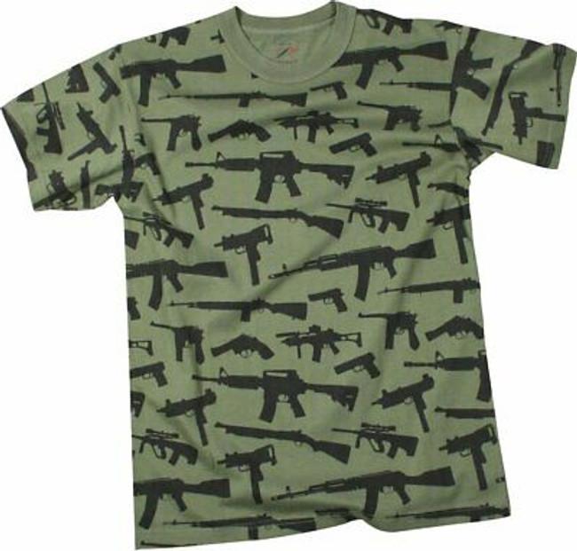 Olive Drab Guns & Rifles Tee 2nd Amendment Rights Vintage Short Sleeve T-Shirt