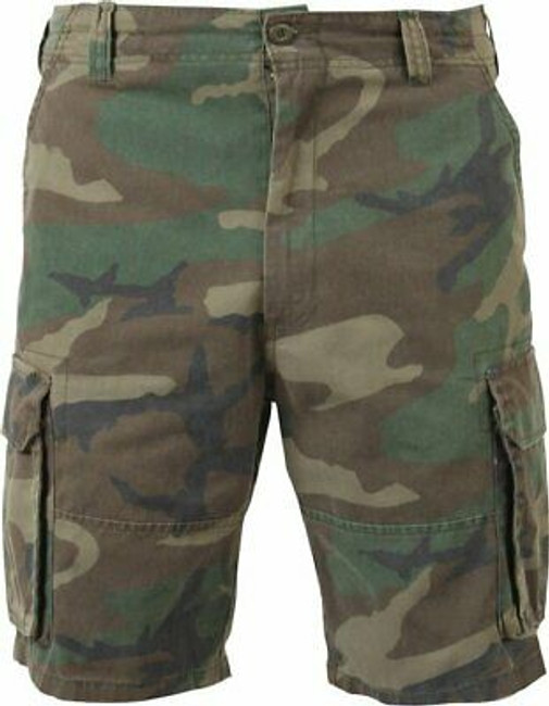 Mens Woodland Camouflage Vintage Military Paratrooper Cargo Shorts