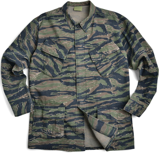 Tiger Stripe Camouflage Vintage Vietnam 100% Cotton Rip-Stop Fatigue Shirt
