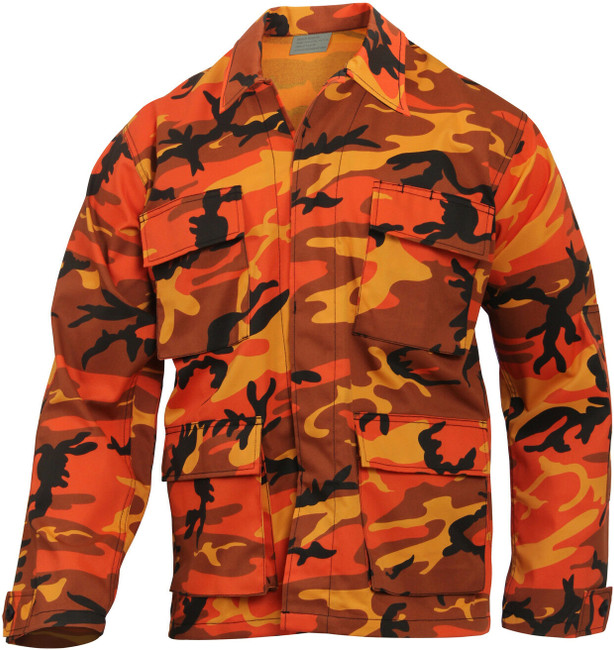 Mens Orange Camouflage Military BDU Shirt Tactical Uniform Army Coat Fatigues
