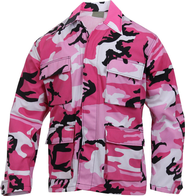 Mens Pink Camouflage Military BDU Shirt Tactical Uniform Army Coat Fatigues