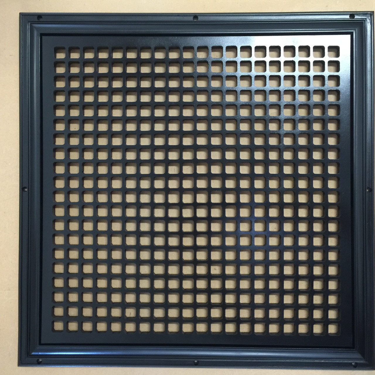 "Return Air Grille for and 12"" x 12"" opening. 12"" x 12"" overall size. Square  design. Black finish."