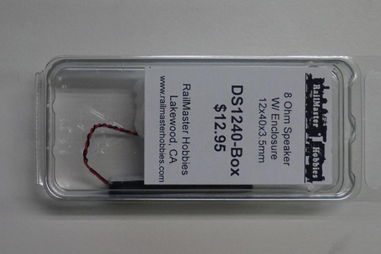 DS1240-BOX Rail Master / SpeakerTHIN 12x40x3.5 mm 8 Ohm (Scale=HO) Part # = RMT-DS1240-Box