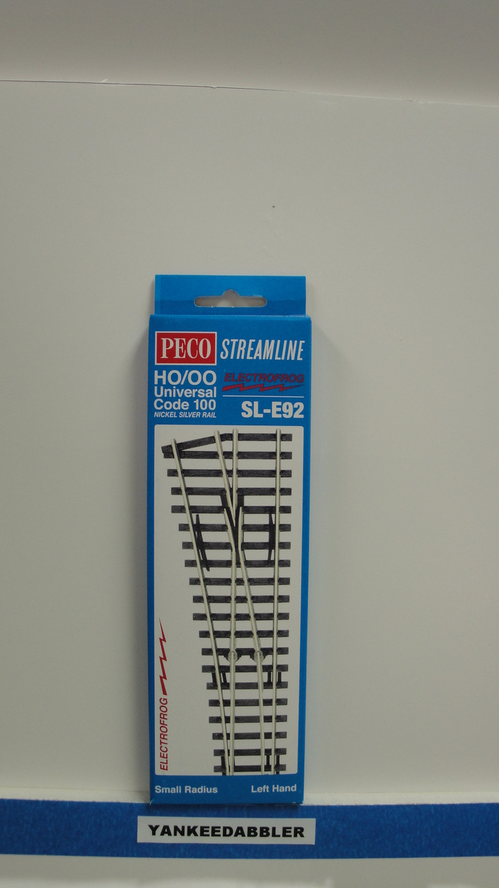 SL-E92 Peco / SL-E92 Code 100 Left-Hand Small Radius Electrofrog Turnout (SCALE=HO ) P Part # PCO-SL-E92