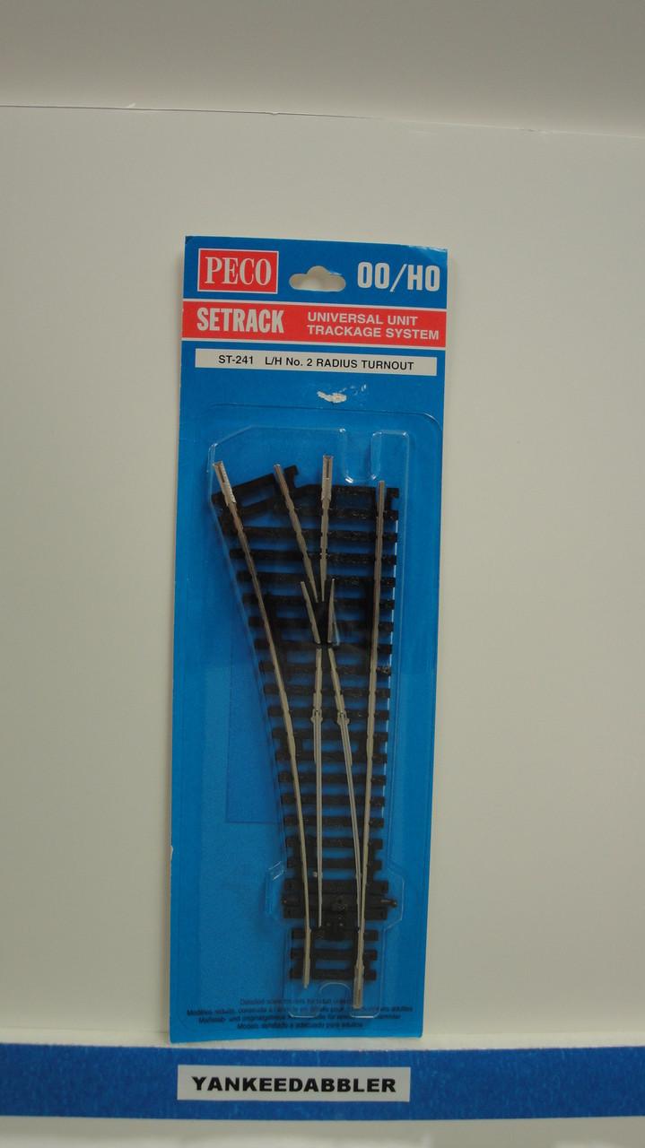 ST-241 Peco / ST-241 Setrack HO Code 100 438mm 17 1/4 inch Radius Left Hand Insulfrog Turnout (SCALE=HO ) P Part # PCO-ST-241