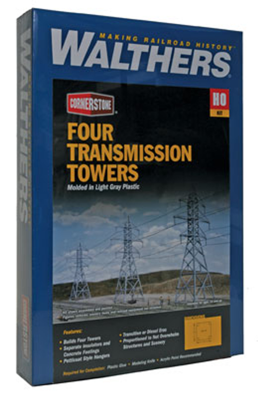 3121 Walthers (4) High-Voltage Transmission Towers (Scale=HO) Cornerstone Part#933-3121