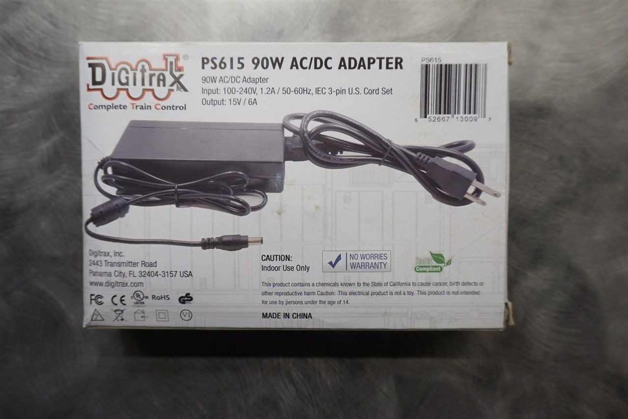 PS615 Digitrax / RTR 90W AC/DC 15VDC 6 Amp  (Scale = ALL)  Part # 245-PS615