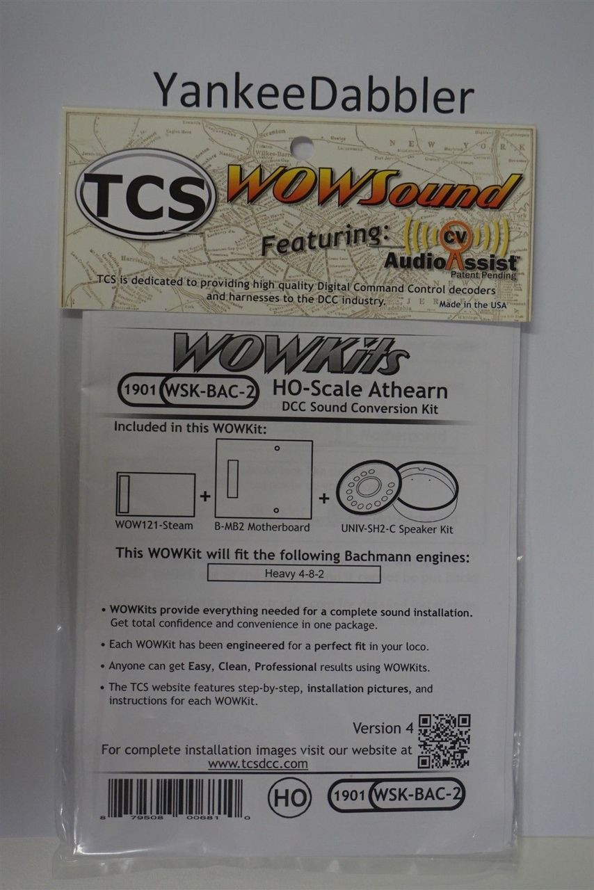 1901 TRAIN CONTOL SYSTEMS (TCS) Bachmann (WSK-BAC-2)  WOW- STEAM HO Bachmann Version 4 CONVERSION KIT - HO Scale  YankeeDabbler Part # 745-1901
