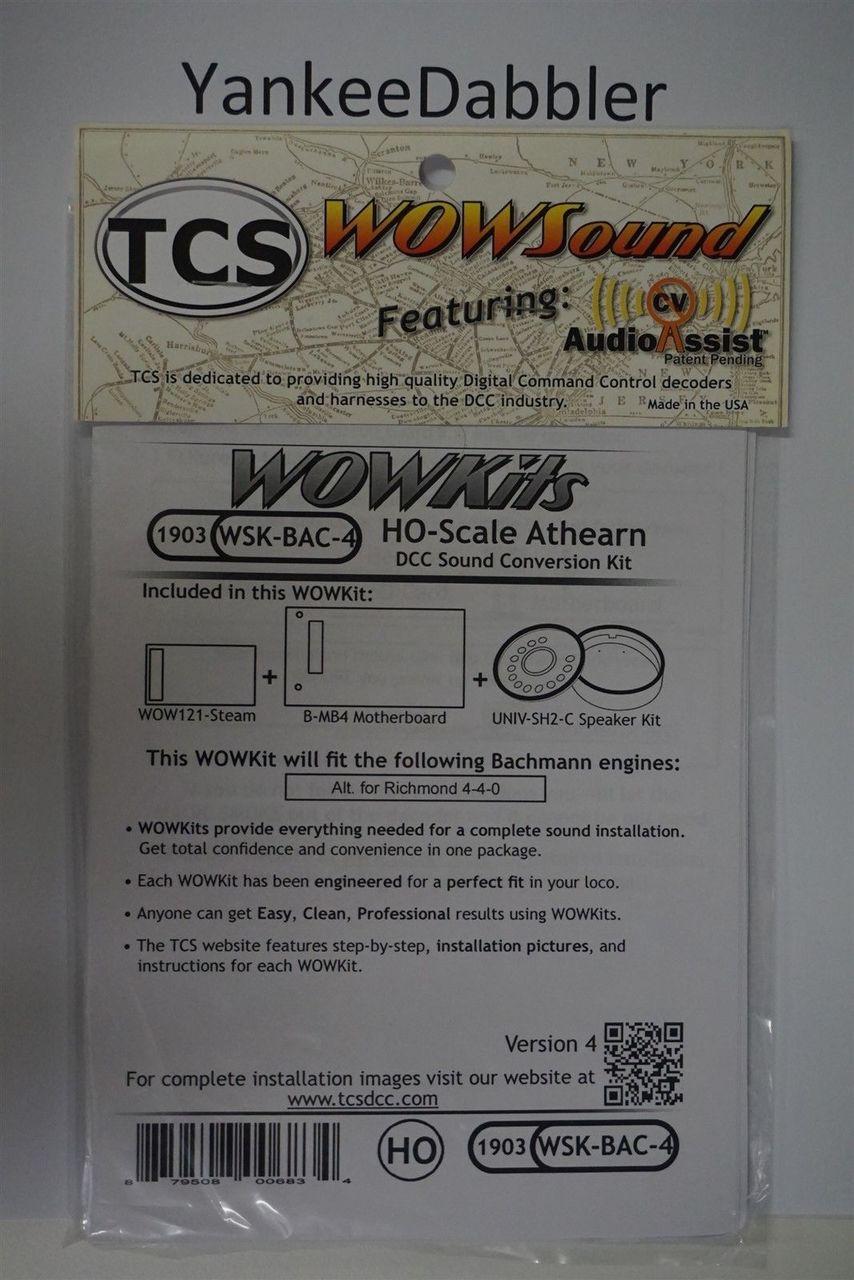 1903 TRAIN CONTOL SYSTEMS (TCS) Bachmann WSK-BAC-4 WOW STEAM Version 4 CONVERSION KIT - HO Scale  YankeeDabbler Part # 745-1903