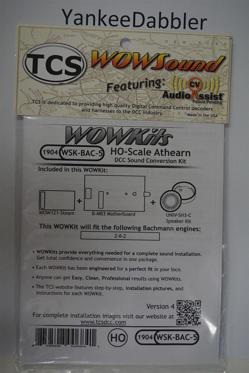 1904 TRAIN CONTOL SYSTEMS (TCS) Bachmann WSK-BAC-5 WOW STEAM Version 4 CONVERSION KIT - HO Scale  YankeeDabbler Part # 745-1904