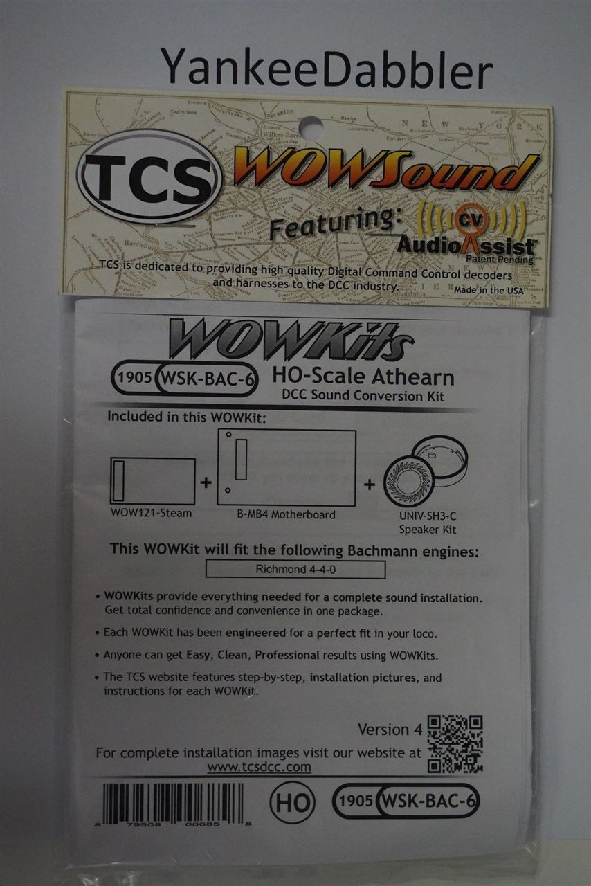 1905 TRAIN CONTOL SYSTEMS (TCS) Bachmann WSK-BAC-6 WOW STEAM Version 4 CONVERSION KIT - HO Scale  YankeeDabbler Part # 745-1905