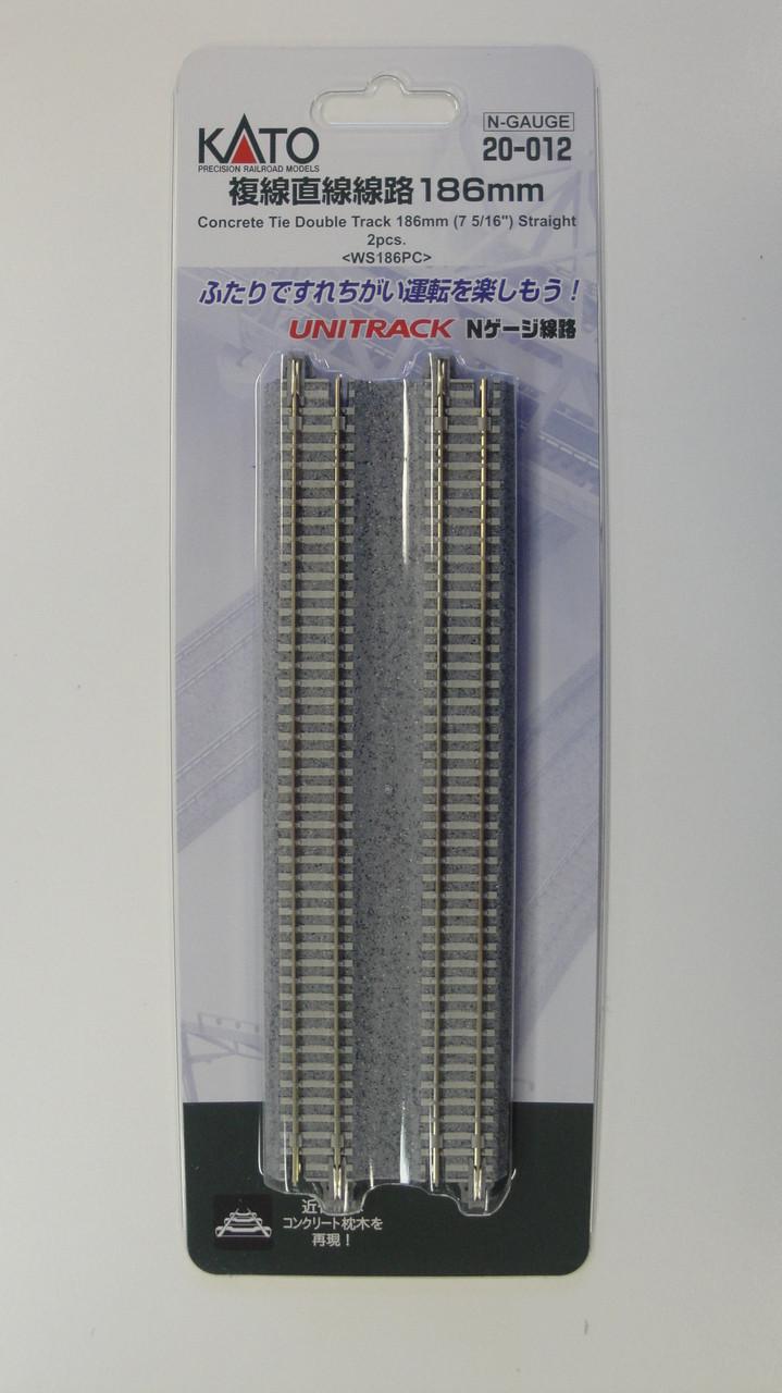 "20012 Kato USA Inc / 186mm (7 5/16"") Concrete Tie Double Track Straight [2 pcs]  (SCALE=N)  Part # 381-20012"