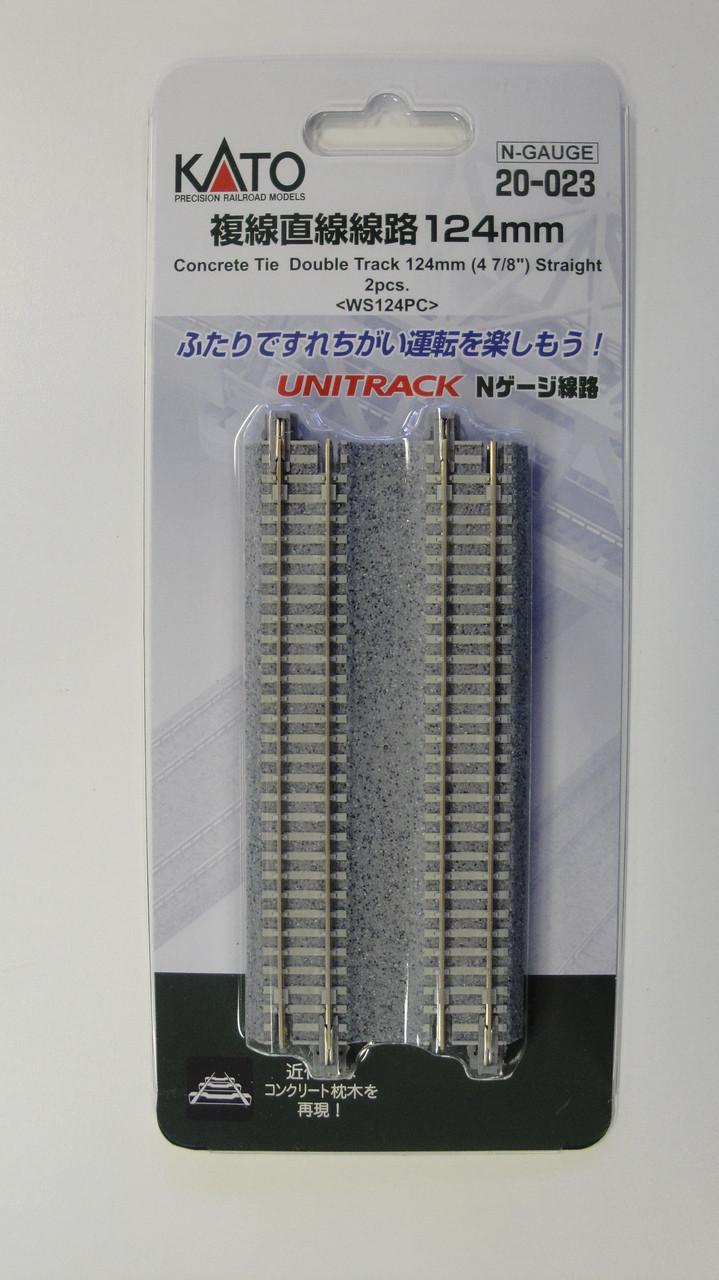 "20023 Kato USA Inc / 124mm (4 7/8"") Concrete Tie Double Track Straight [2 pcs]  (SCALE=N)  Part # 381-20023"