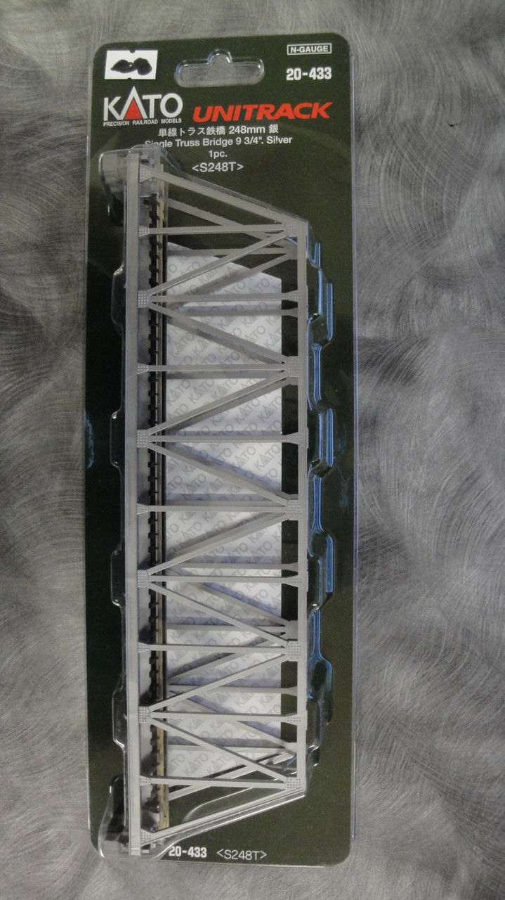 "20433 Kato USA Inc / 248mm (9 3/4"") Single Track Truss Bridge, Silver  (SCALE=N)  Part # 381-20433"