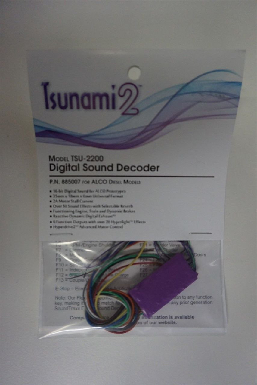 885007 Soundtraxx / Tsunami 2 Diesel ALCO Set, 6-Function, Universal  TSU-2200 (2 Amp) Digital Sound Decoders (Scale=HO) Part # = 678-885007